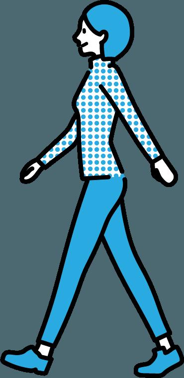 歩いている人(女)のイラスト