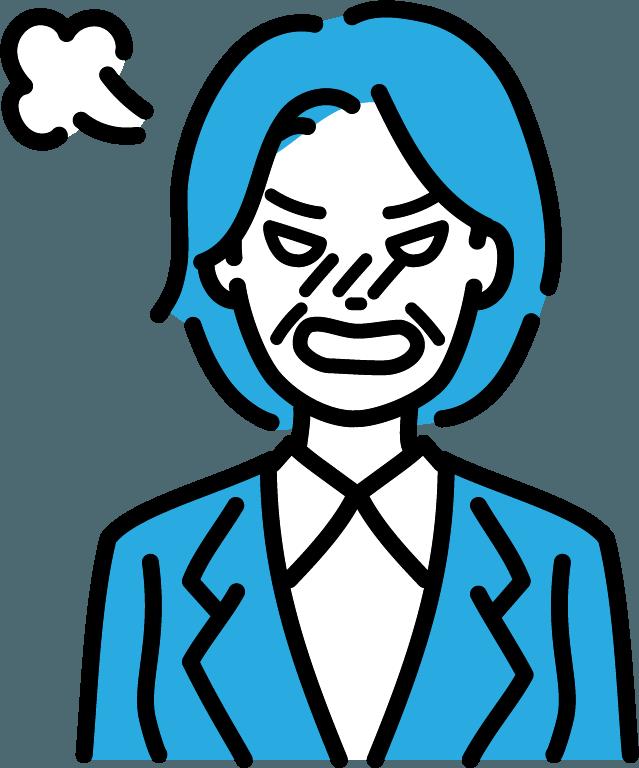 激怒している中年(女)のイラスト