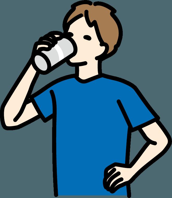 缶ビールを飲んでいる人(男)のイラスト