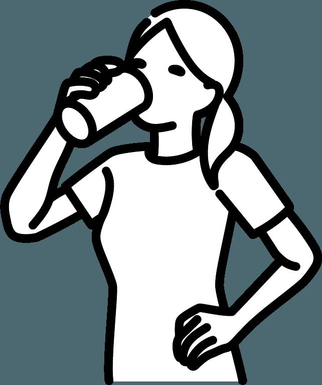 缶ビールを飲んでいる人(女)のイラスト