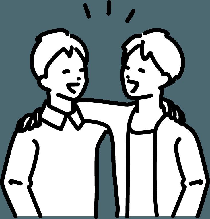 友達と話している人(男)のイラスト