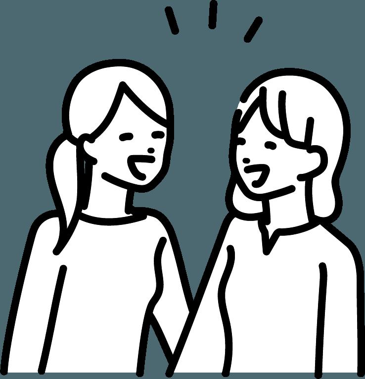 友達と話している人(女)のイラスト