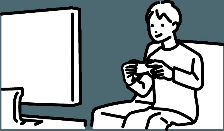 ゲームをしている人(男)のイラスト
