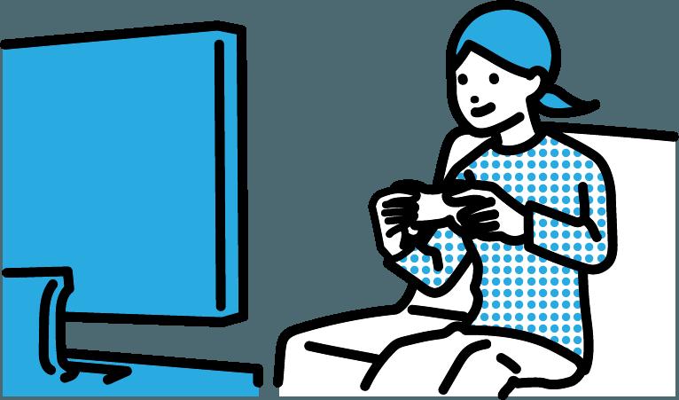 ゲームをしている人(女)のイラスト