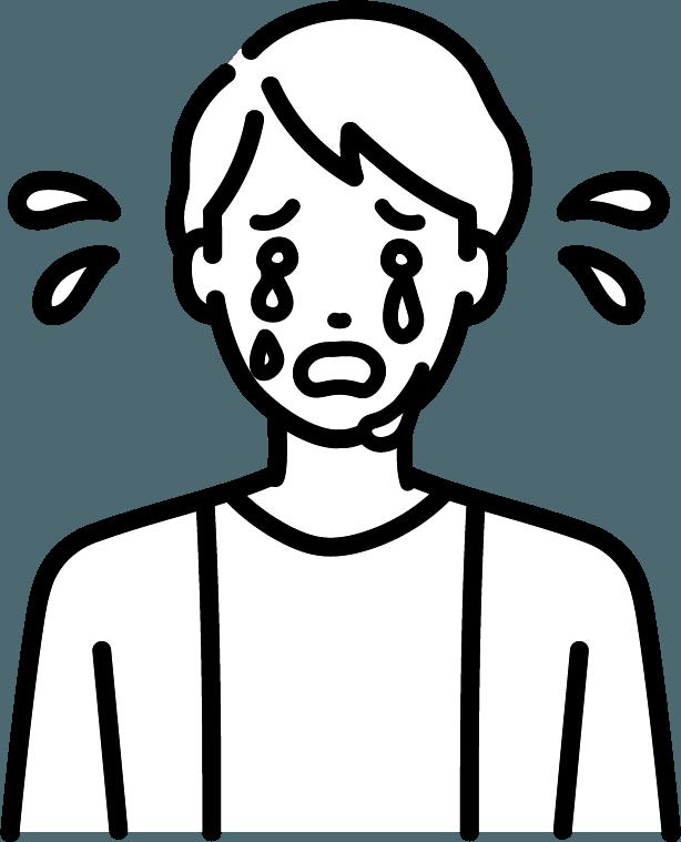 号泣している人(男)のイラスト