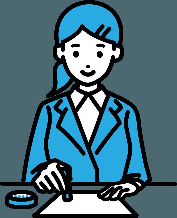 ハンコ押しているビジネスマン(女)のイラスト