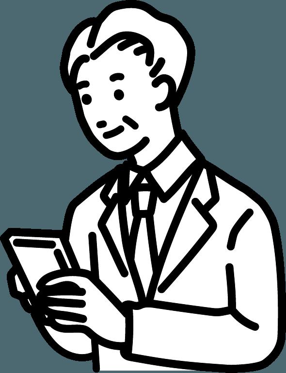 スマホを操作する中年の人(男)のイラスト