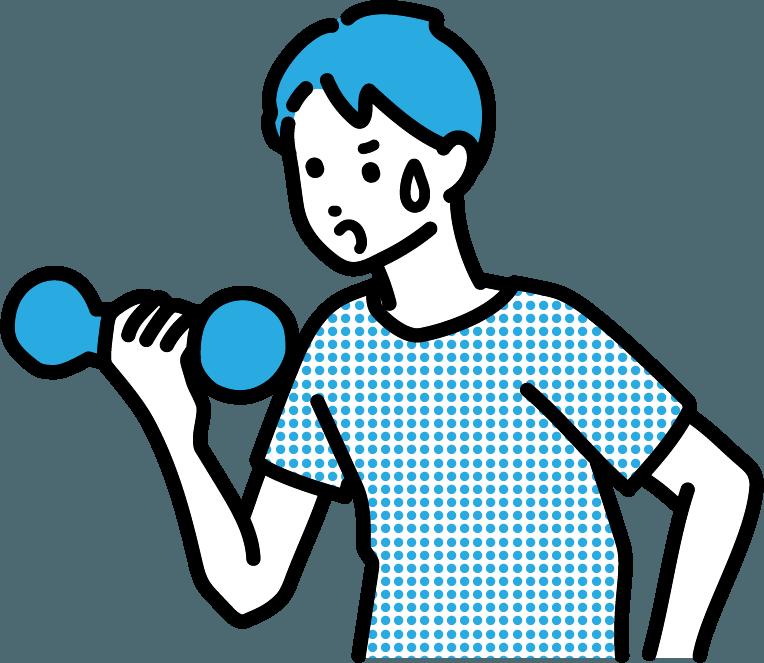 筋トレしている人(男)のイラスト