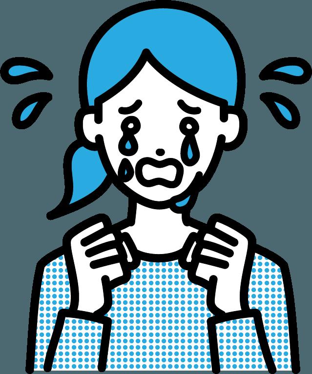 号泣している人(女)のイラスト