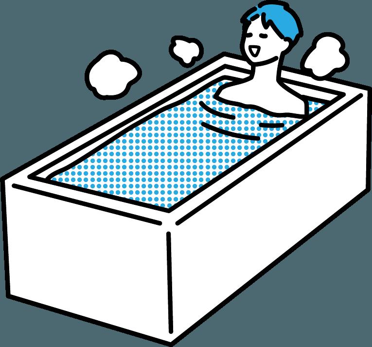 お風呂に入っている人(男)のイラスト