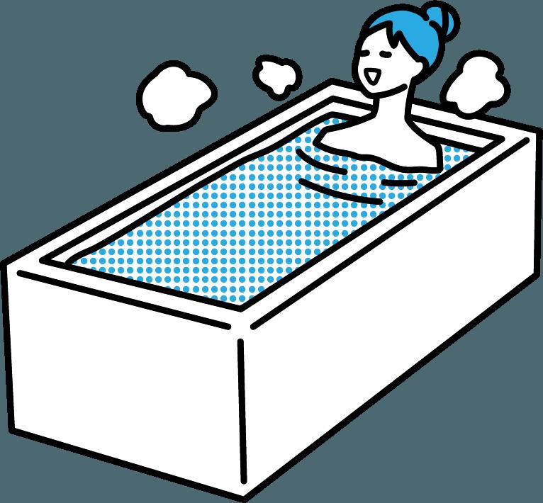 お風呂に浸かっている人(女)のイラスト