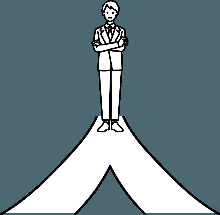 分かれ道に立っている人(男)のイラスト