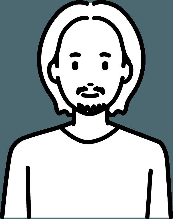 ロングヘアーの男性のイラスト