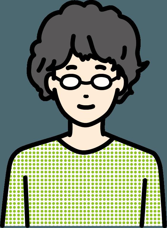 パーマをかけている男性のイラスト