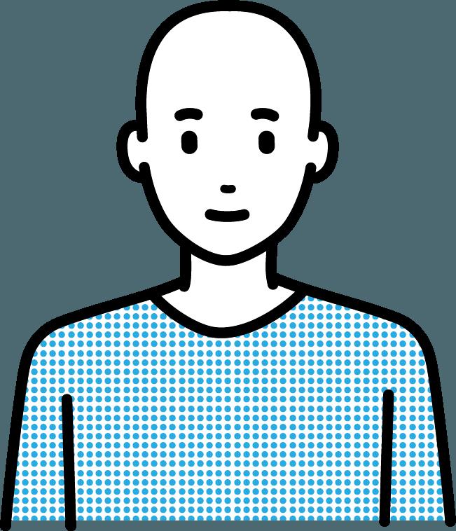 スキンヘッドの男性のイラスト