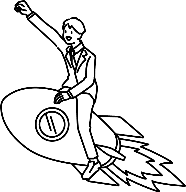 ロケットに乗っている人(男)のイラスト
