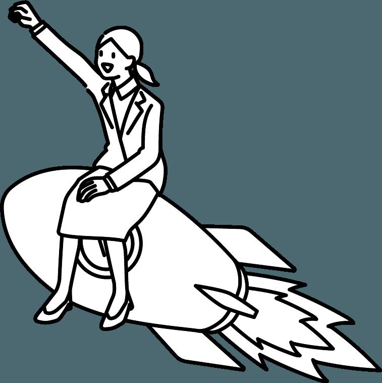 ロケットに乗っている人(女)のイラスト