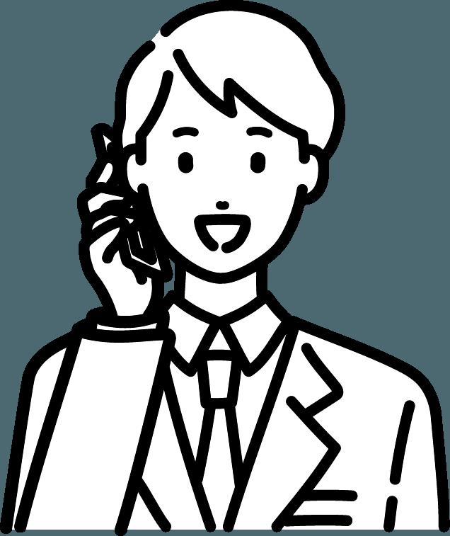 スマホで電話している人(男)のイラスト