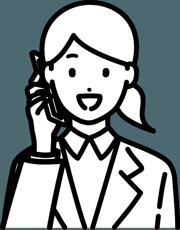 スマホで電話している人(女)のイラスト