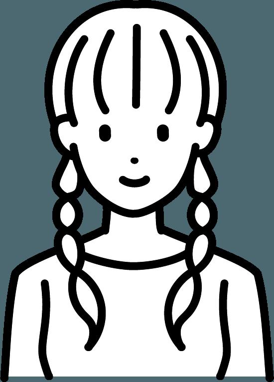おさげの女性のイラスト