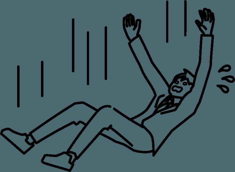 落ちている人のイラスト