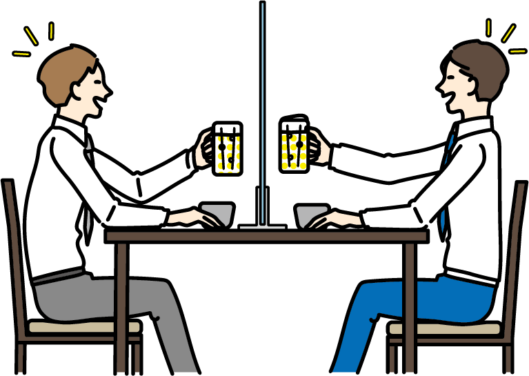 シールド越し飲み会のイラスト