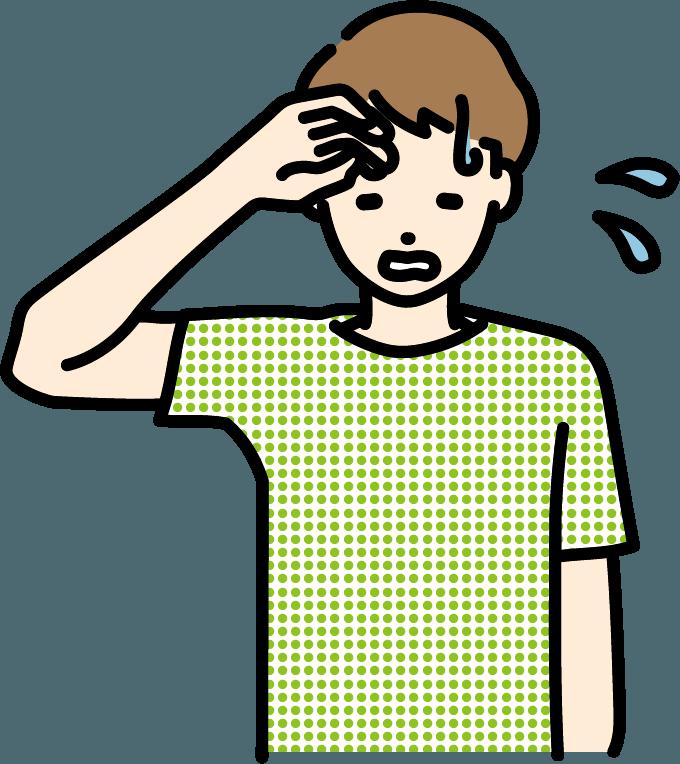 汗をかいている人(男)のイラスト