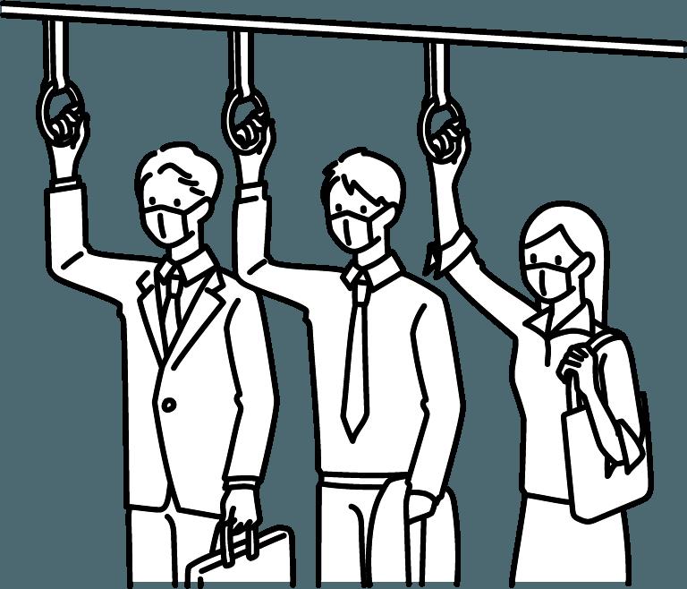 電車通勤のイラスト(マスクあり)