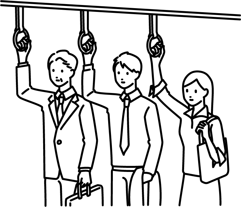 電車通勤のイラスト(マスクなし)