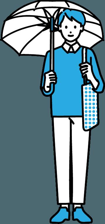 傘をさしている人(男)のイラスト