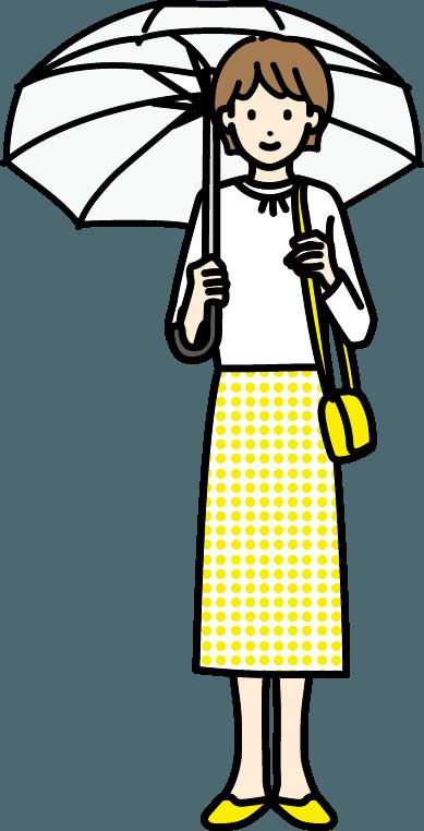 傘をさしている人(女)のイラスト
