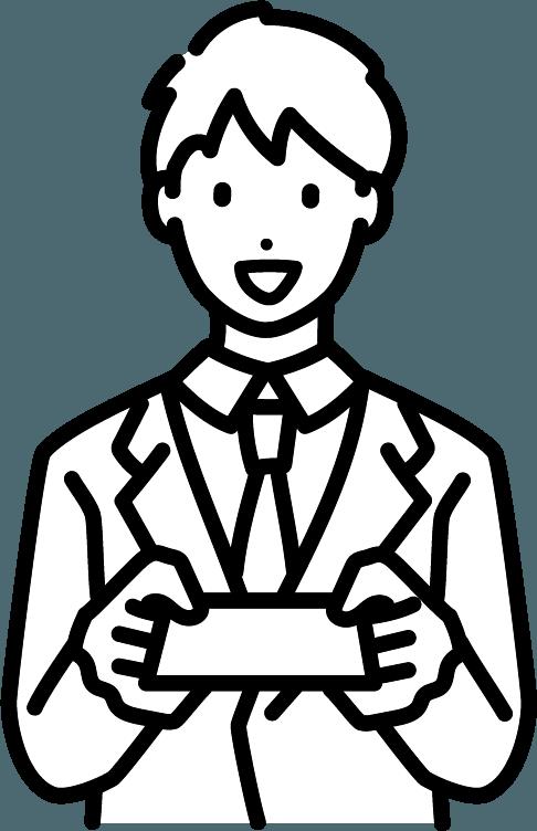 名刺を渡している人(男)のイラスト