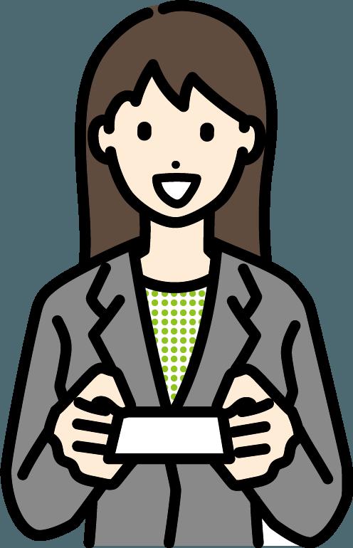 名刺を渡している女性のイラスト